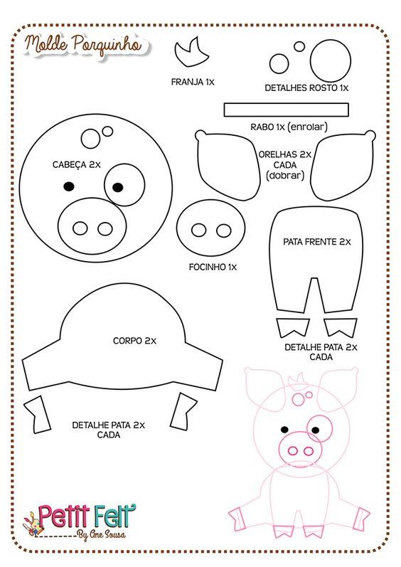 Molde porquinho Fazendinha