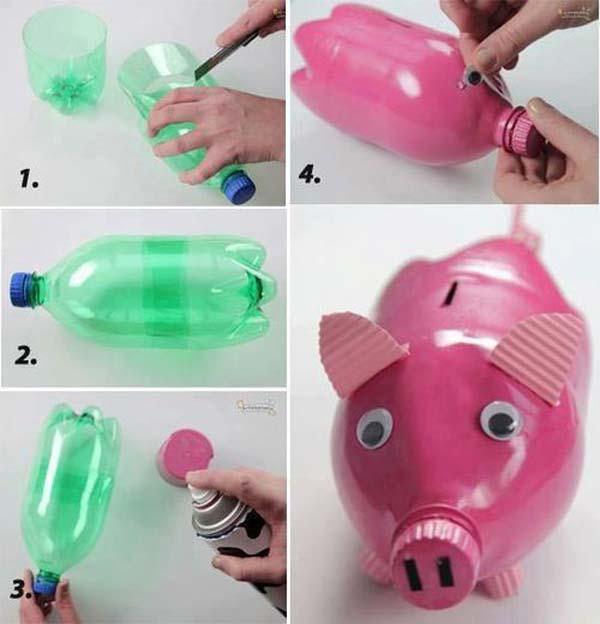 cofrinho de porco de garrafa pet