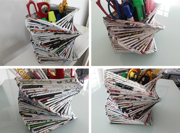 porta-canetas de revista velha