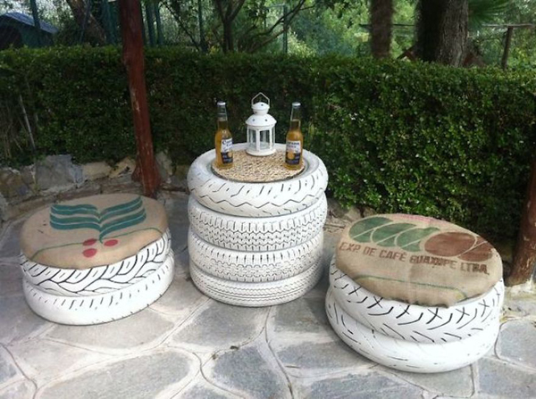 pufe e mesa de pneu