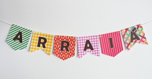 nome nas bandeirinhas de festa junina