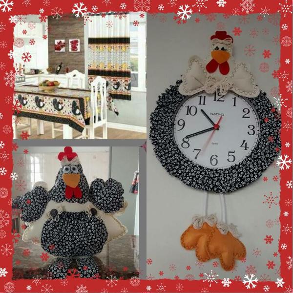 galinha de tecido para relógio