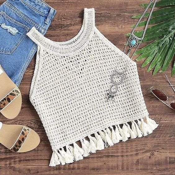 blusa de croche com grafico
