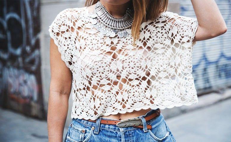 blusa de croche curta