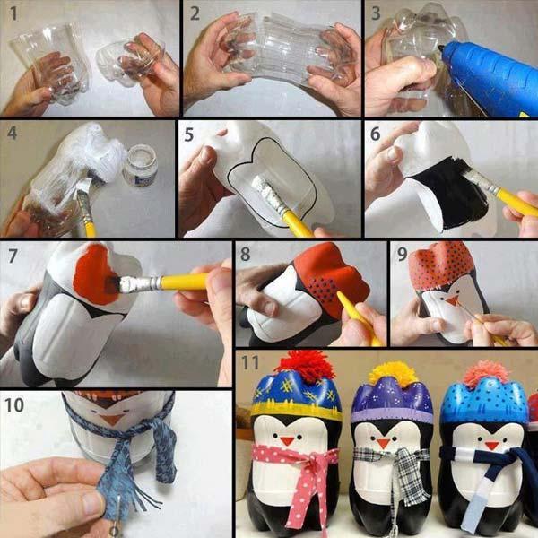 pinguim de garrafa pet