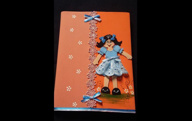 caderno com eva e fita