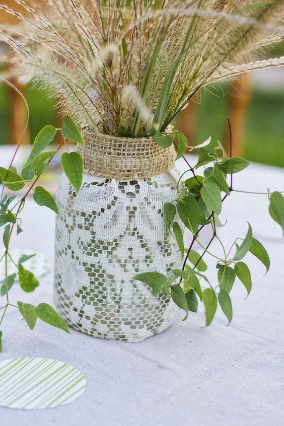 artesanato garrafas de vidro decoradas com renda