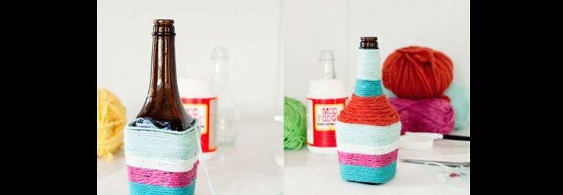 barbante colorido na garrafa