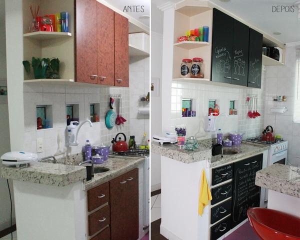 tinta lousa em armário de cozinha