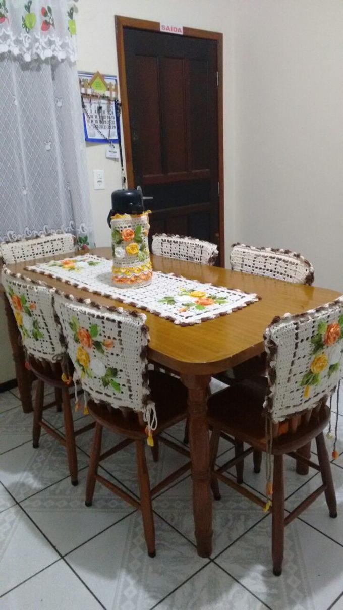 jogo de mesa em crochê