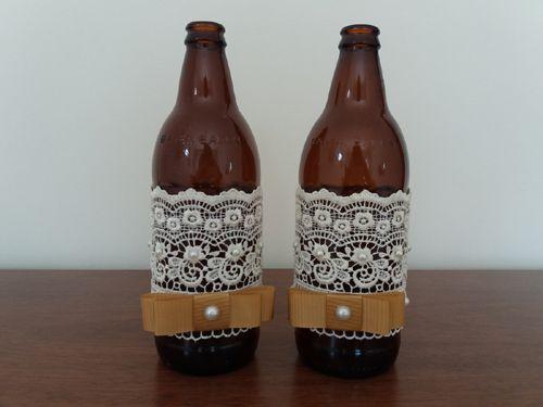 decoração de garrafas de vidro com renda