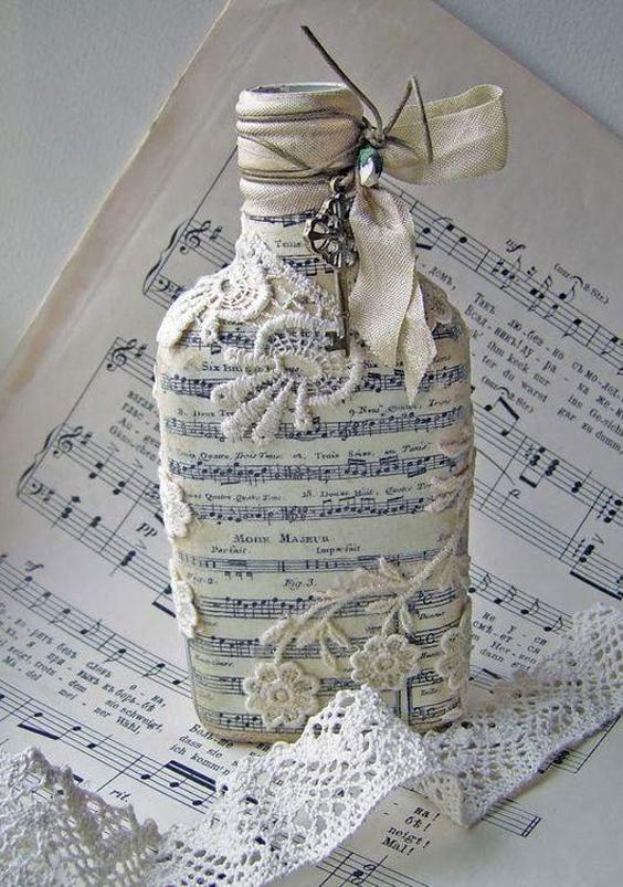 garrafa decorada com papel