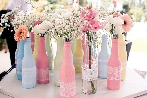 garrafa decorada lilas com rendas