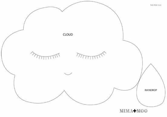 molde nuvem grande feltro