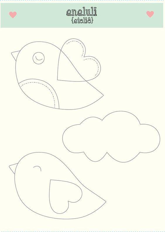 moldes de nuvens para feltro