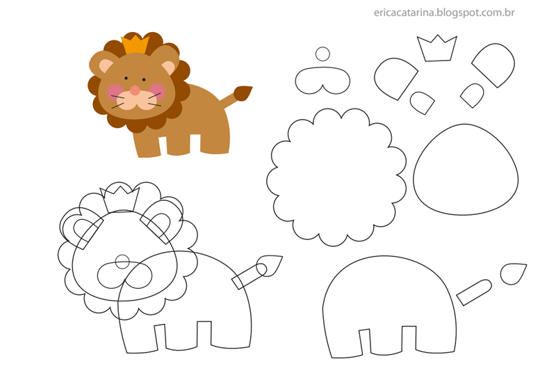 30 Moldes de Bichinhos em EVA Prontos Para Imprimir Artesanato Passo a Passo!~ Moldes De Animais Safári Em Eva Para Colar No Quarto Do Bebê
