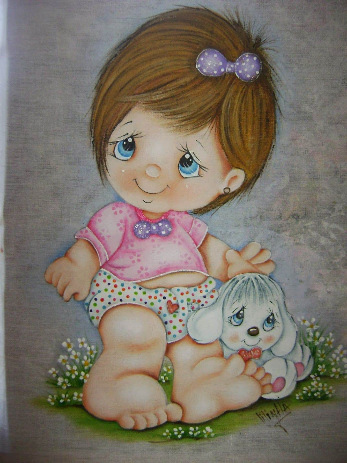 pintura a mão para bebe menina