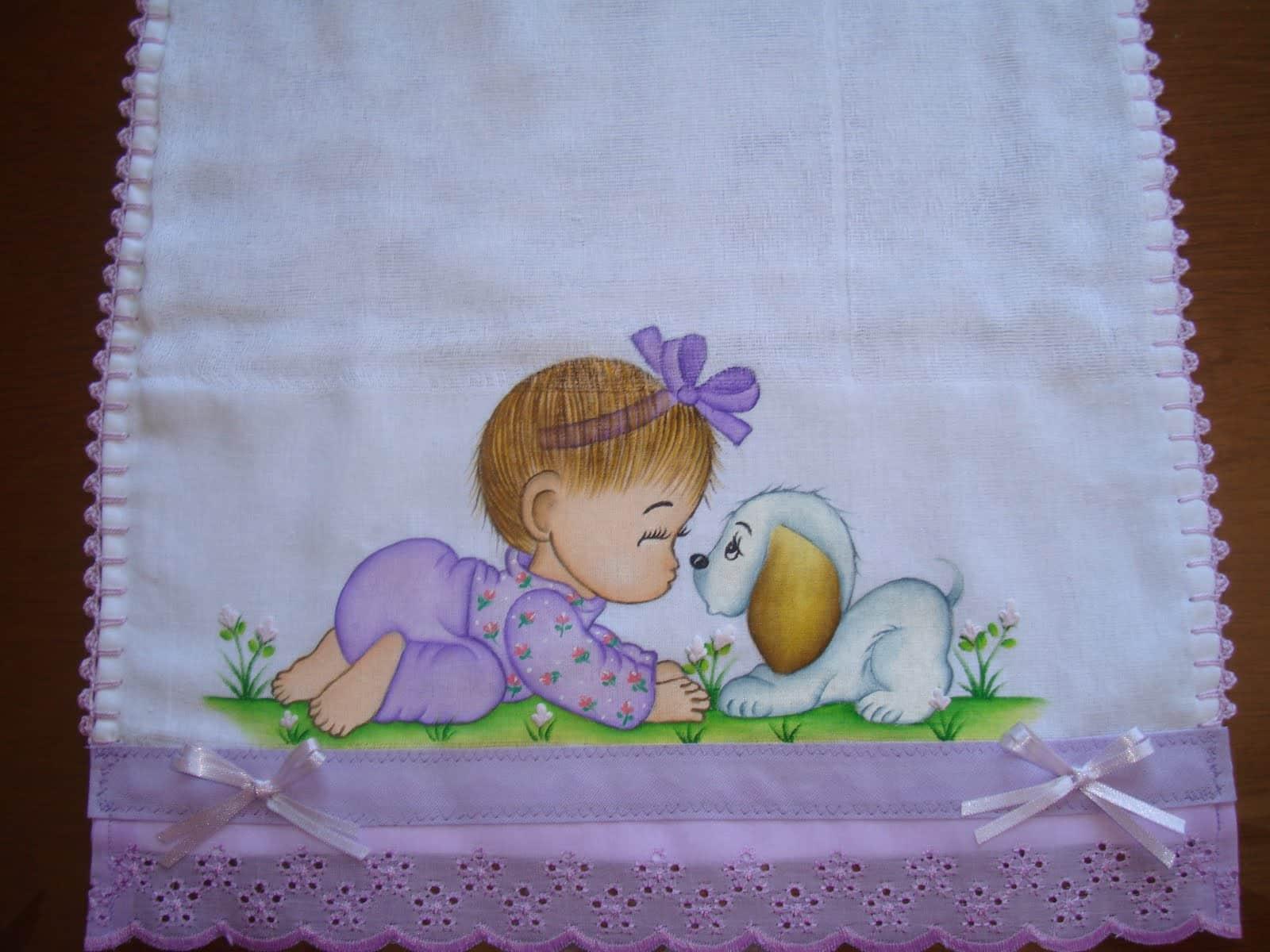 pinturas de fraldas menina lilás
