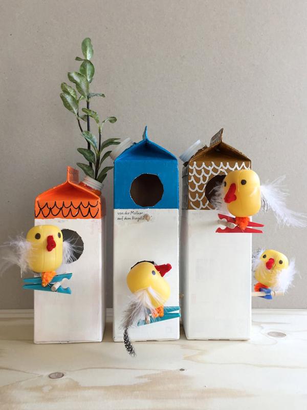 casinha de passarinho de caixa de leite