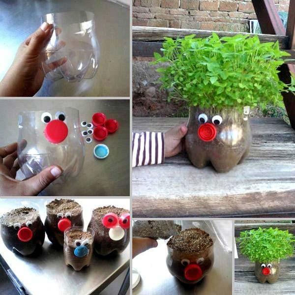 vaso criativo de garrafa pet