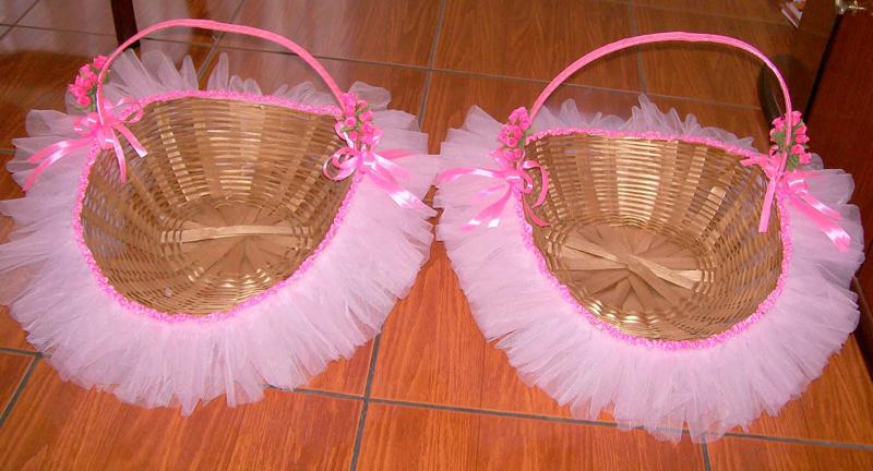 cesta decorada com saia de tule