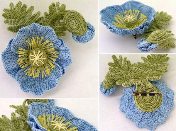 flor de croche para broche