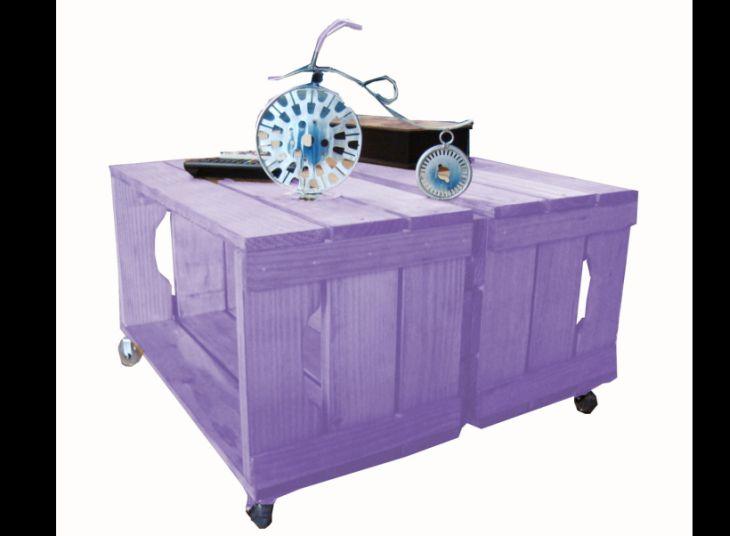 mesa de caixa de madeira roxa