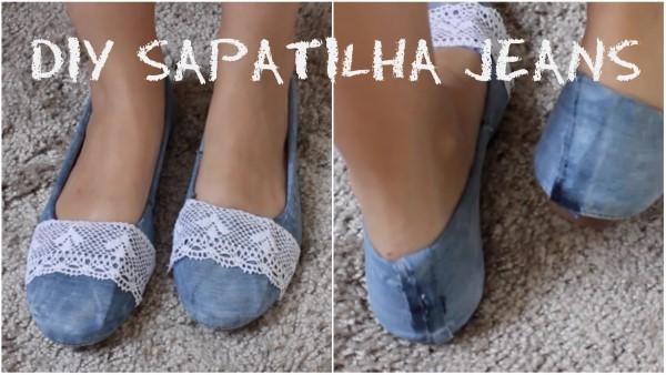 customização de sapatos com jeans