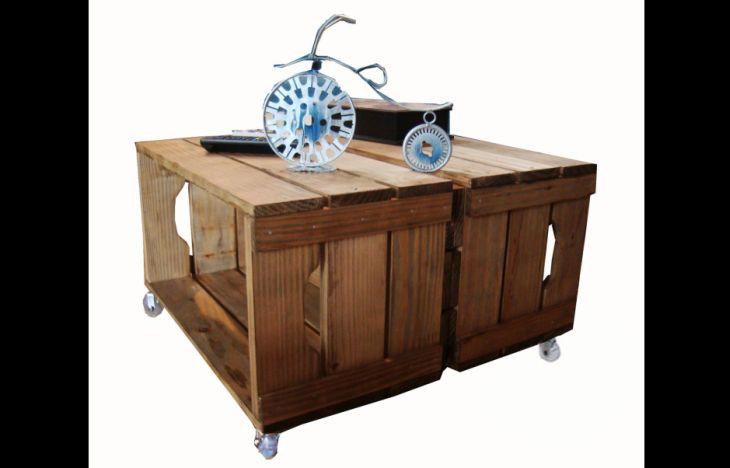 mesa de caixa de madeira original