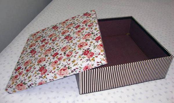 decoupage com tecido na caixa