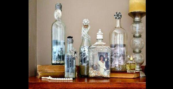 decoração de garrafa com fotos