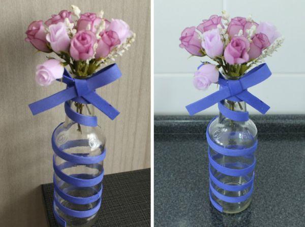 garrafa de vidro com eva
