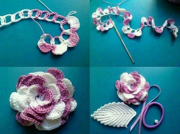 flor de croche mesclada