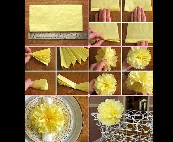 pompom de papel crepom amarelo
