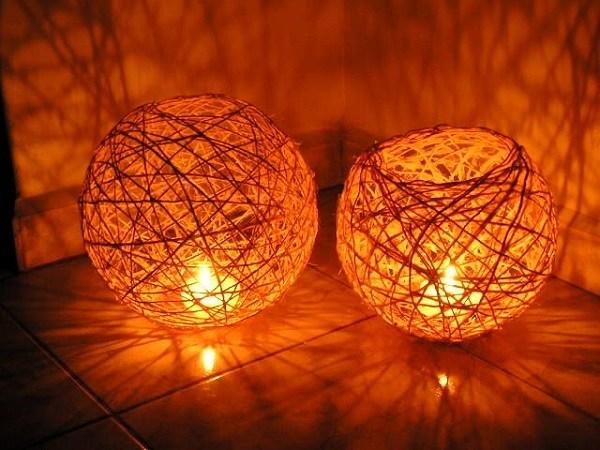 luminária de mesa de barbante