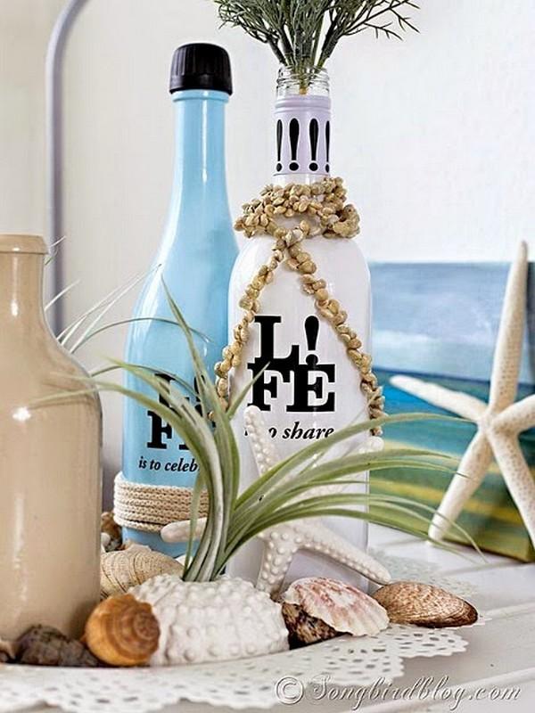 decoração de garrafa com letras
