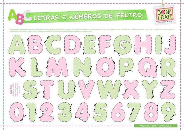 molde de letras em feltro