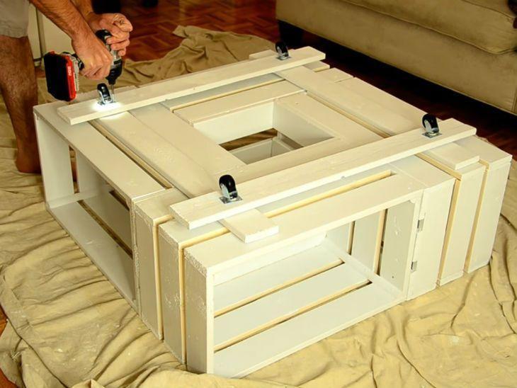 como fazer mesa de caixa de madeira
