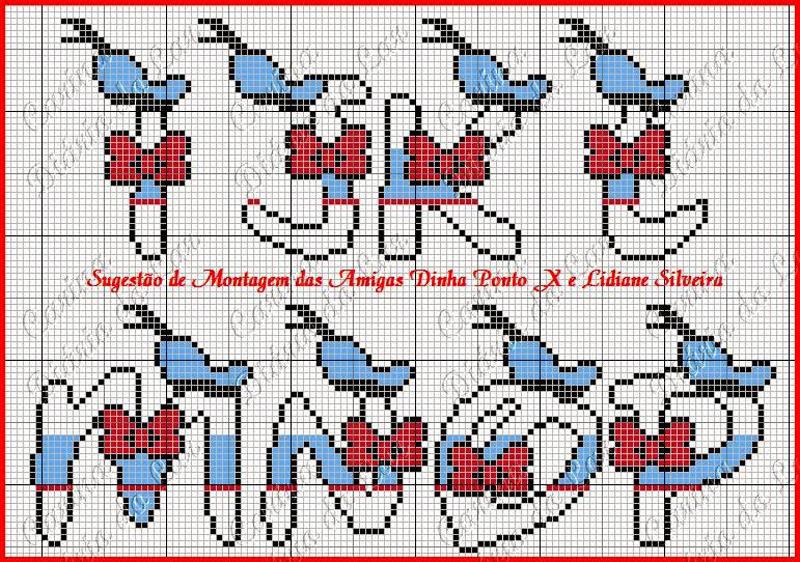 grafico de alfabeto em ponto cruz personagem