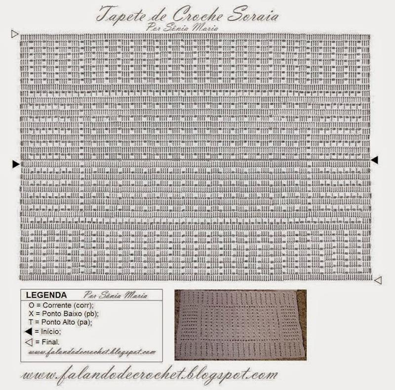 tapete de crochê com quadrados