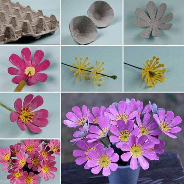 flores com caixa de ovos no vaso