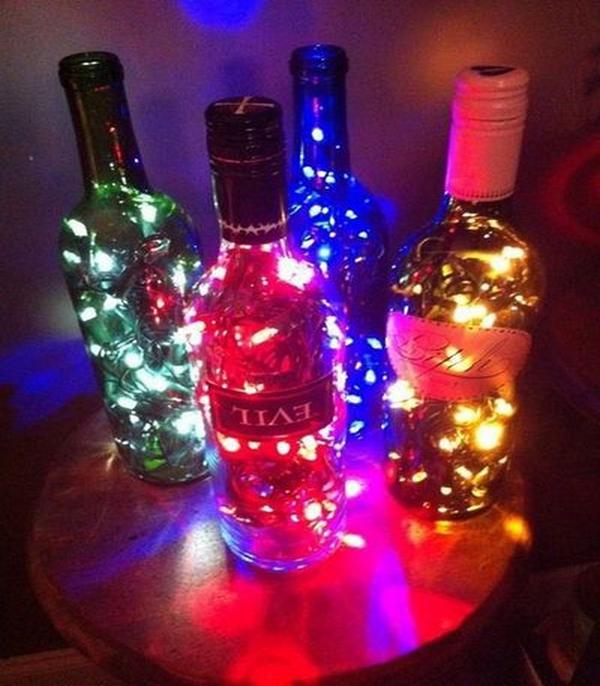 decoração de garrafa com pisca pisca