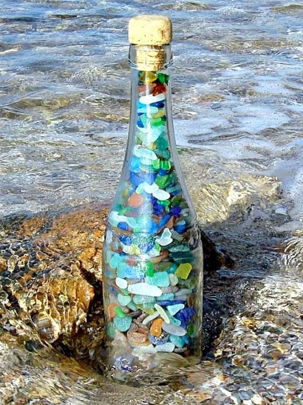 decoração de garrafa com pedras