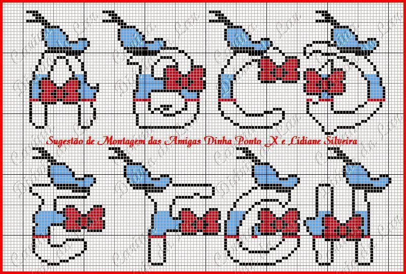 grafico de alfabeto em ponto cruz pato Donald