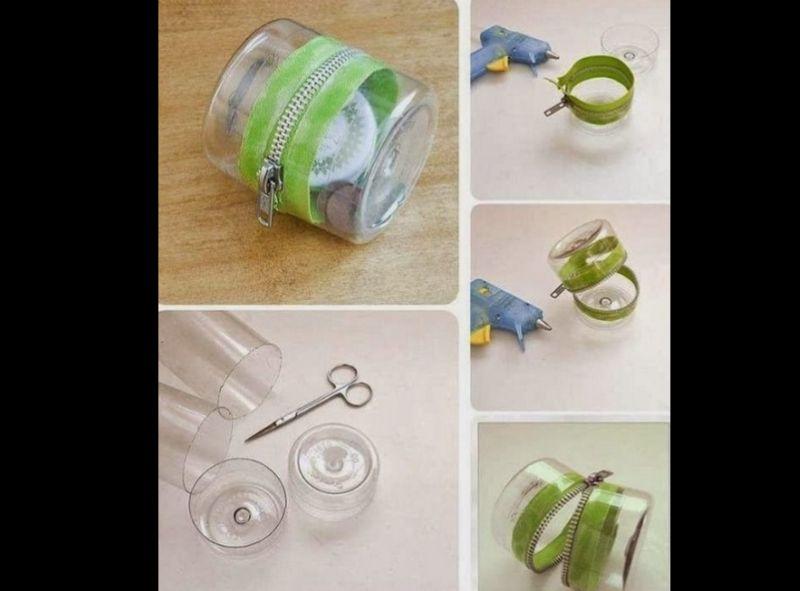 porta-joias com zíper de garrafa pet