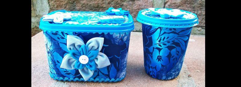 pote de sorvete decorado azul