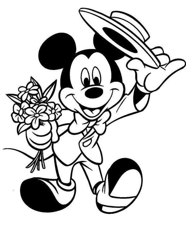 molde do Mickey Mouse com flores