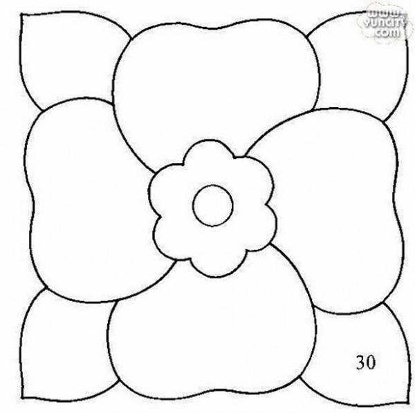 molde para patchwork de flor