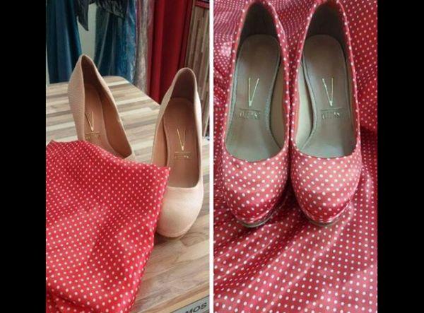 tecido na customização de sapato