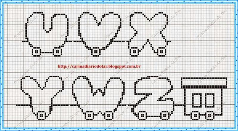 monograma ponto cruz trenzinho